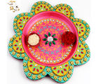 Pink Flower Pooja Thali, with 250 gm kaju katli