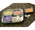 Dezinox 5 Pcs Square Aroma Diya Set-ACS-SDS-0005, multicolor