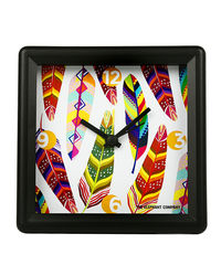 The Elephant Company Tropical Feathers White Alarm Clock, multicolor