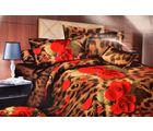 Valtellina Red Roses With Tiger Print Double Bed Sheet, brown