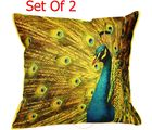 Me Sleep Cushion Covers Painted Dancing Peacock Set Of 2 (Multicolor)
