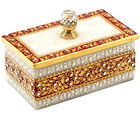 Marvel in Marble - Gold Embossed Jewellery Box with crystal Knob (Multicolor)