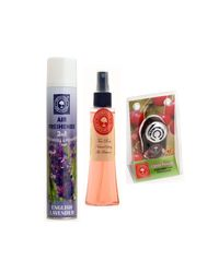 Aromatreee 2In1 Eng Lavender Air Freshener 300ml, Tea Rose Natural Spray 75ml & Cherry Blossom Pure Car Perfume 10ml - Pack Of 4