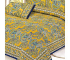 Gold Mughal Printed Pure Cotton Double Bed sheet, multicolor