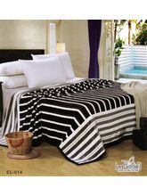 Welhouse India Striped Design Double Bed Ac Blanket, white