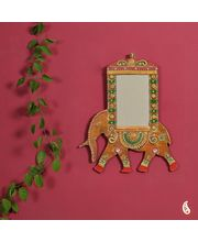 Royal Elephant In Wood And Clay Mirror (Brown)