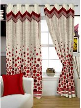 Story At Home Berry Designer Jaquard Eyelet 1 Piece Window Curtain Set-wbr4019, red