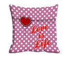 meSleep Love is Life Digitally Printed Cushion Cover, pink
