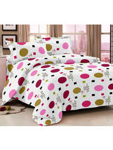Story At Home 100% Cotton Magic 1 Double Bedsheet With 2 Pillow Cover-mg1430, white