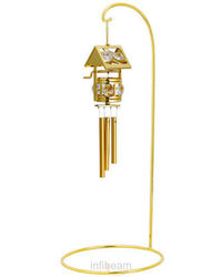 Wind Chime Wish Making Well With Single Arm Stand 24K Gold Plated Gift With Swarovski Crystals, gold