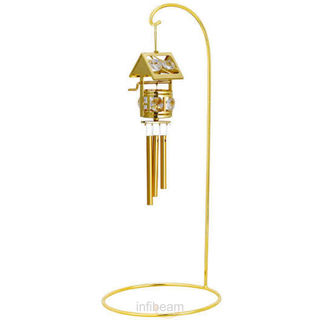 Wind Chime Wish Making Well With Single Arm Stand 24K Gold Plated Gift With Swarovski Crystals (Gold)