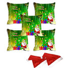 meSleep Set of 5 Merry Christmas Santa Digitally Printed Cushion Cover (16x16) -With 2 Pcs,  green