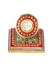 Villcart Round Marble Table Clock,  red