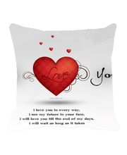 Me Sleep Red & White Valentine Cushion Cover, Red
