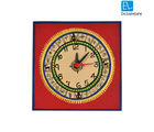 ExclusiveLane Warli Handpainted Table Clock 5* 5 Inch Red, red