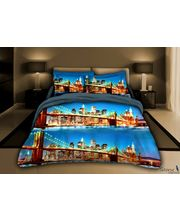 Story King Size Austrila Bridge Double Bed sheet IM1060, multicolor