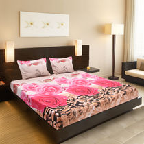 Valtellina Fabulous pink roses & choclety Print Double Bed Sheet,  pink