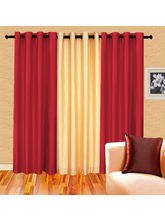 Cortina Plain Set Of 3- 7Ft Curtain, Purple Ivory