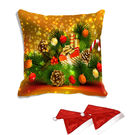 meSleep Christmas Digitally Printed Cushion Cover (16x16) - With 2 Pcs, multicolor