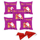 meSleep Set of 5 Merry Christmas Santa Digitally Printed Cushion Cover (16x16) -With 2 Pcs,  purple