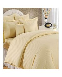 Banana Prints Wheat Satin Stripes Bedsheets, wheat