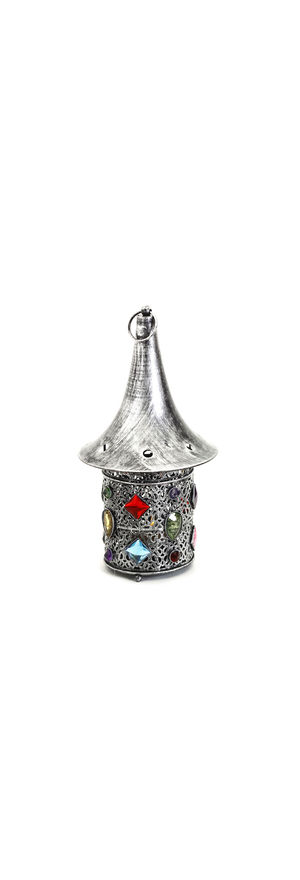 Hat Shaped Gun Metal Tea Light Holder With Colored Glass, Multicolor