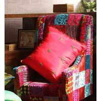 Rang Desi Raw Silk Cushion Cover Red Green,  red