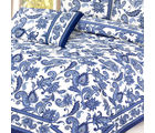 Cobalt Hand Print Pure Cotton bed sheet set, multicolor