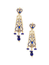 Voylla Gold Plated Dangler Earrings with Blue Color Stones and Shiny CZ-VLJAI20908