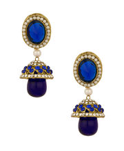 Voylla Gold Plated Pretty Jhumki Drop Earrings Embellished With Cz Stones Pearl Beads