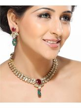 Round Ruby And Emerald Beads Kundan Necklace Set