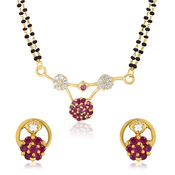 Mahi Gold Plated Divine Mangalsutra Set with CZ & Ruby for Women NL1103505G2