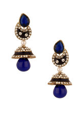 Voylla Blue Meenakari Embellished Gold Plated Jhumkis Studded With Cz, Pearl Beads-SCBOM20425