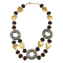 Go Bold Purple Beads And Gold Belicia Necklace (A05965)