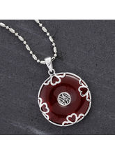 Silver And Red Agate Necklace