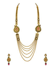 Voylla Gold Plated Paisley Necklace Set With Peacock Design Thewa Work