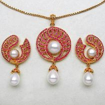 26.30 Grams Ruby & Pearl Gold Plated Brass Pendant Set
