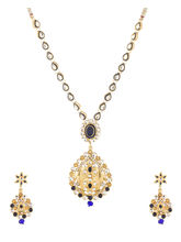 Voylla Traditional Polki Kundan Meena Theme Blue Drop Necklace Set-SCBOM22902, gold