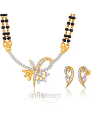 Peora elegant and exquisite Gold plated Mangalsutra and earring set