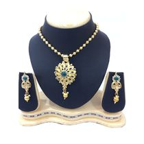 Shriya Gold Plated Austrian Diamond Designer Necklace Set With Hanging Earrigs