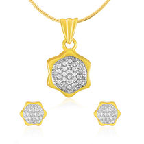 Mahi Gold plated Hexagonal Geometric Pendant Set with CZ for Women NL1100153G