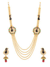 Voylla Gold Tone Necklace Set With Peacock Design-...