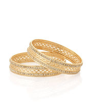 Voylla Pair Of Kada Styled Bangles Featuring Golden Wavy Rib Flanked By Cz Rows-PSJAI24066, 2 4
