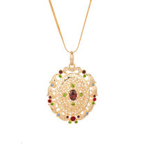 Voylla Gold Plated Chain Pendant With Shimmering Multicolor Stones   SNJAI20206