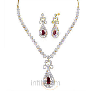 Peora Gold And Rhodium Plated Necklace Set Pn298Gj