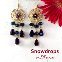 Shara Handcrafted Jewels Snowdrops Earrings (Purple)