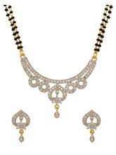 Voylla Gold Plated Cz Studded Floral Mangalsutra Set With Double Chain-PSJAI23859