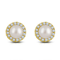 Shriya White Pearl Gold Plated Austrian Diamond Earring