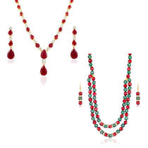 Oviya Combo Of Opulent Gold & Rhodium Plated Two Necklace Sets For Women Co1104394G