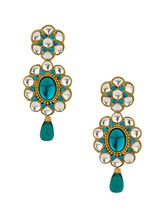Voylla Gold Plated Blue Cz Earrings With Blue Drops-SCBOM20005